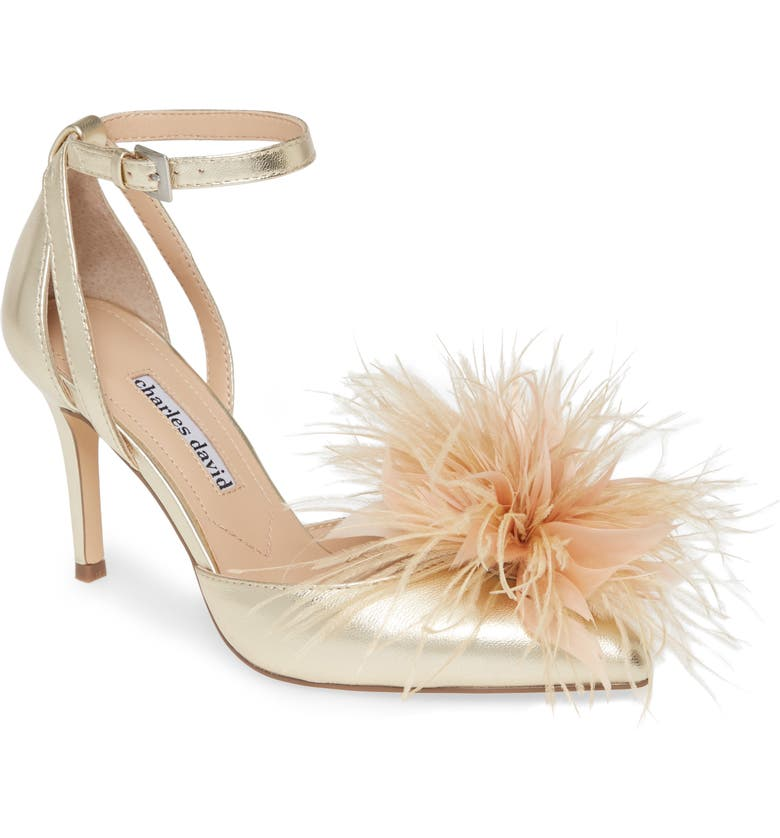 CHARLES DAVID Violate Ankle Strap Pump, Main, color, LIGHT GOLD METALLIC LEATHER