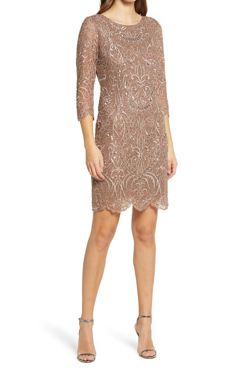 PISARRO NIGHTS Embroidered Cocktail Dress, Main, color, TAN