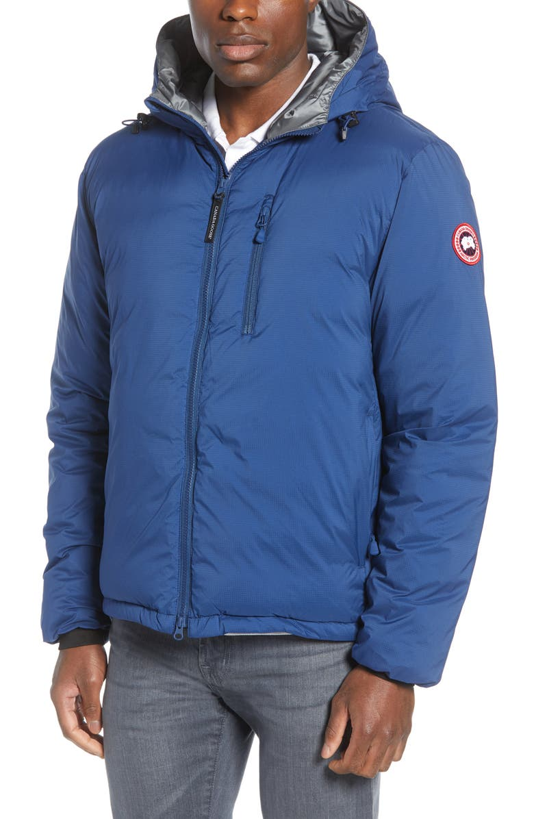 CANADA GOOSE Lodge Packable Windproof 750 Fill Power Down Hooded Jacket, Main, color, NORTHERN NIGHT