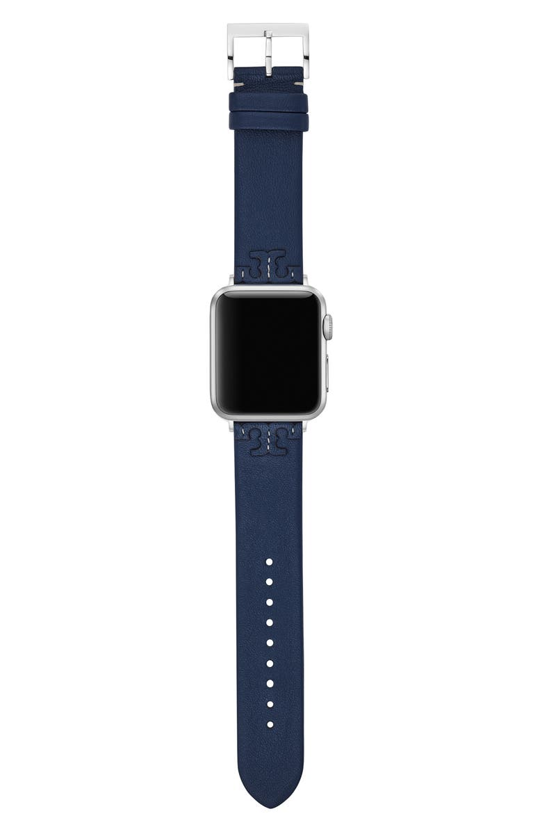 TORY BURCH McGraw Leather Strap for Apple Watch<sup>®</sup>, 38mm/40mm, Main, color, NAVY