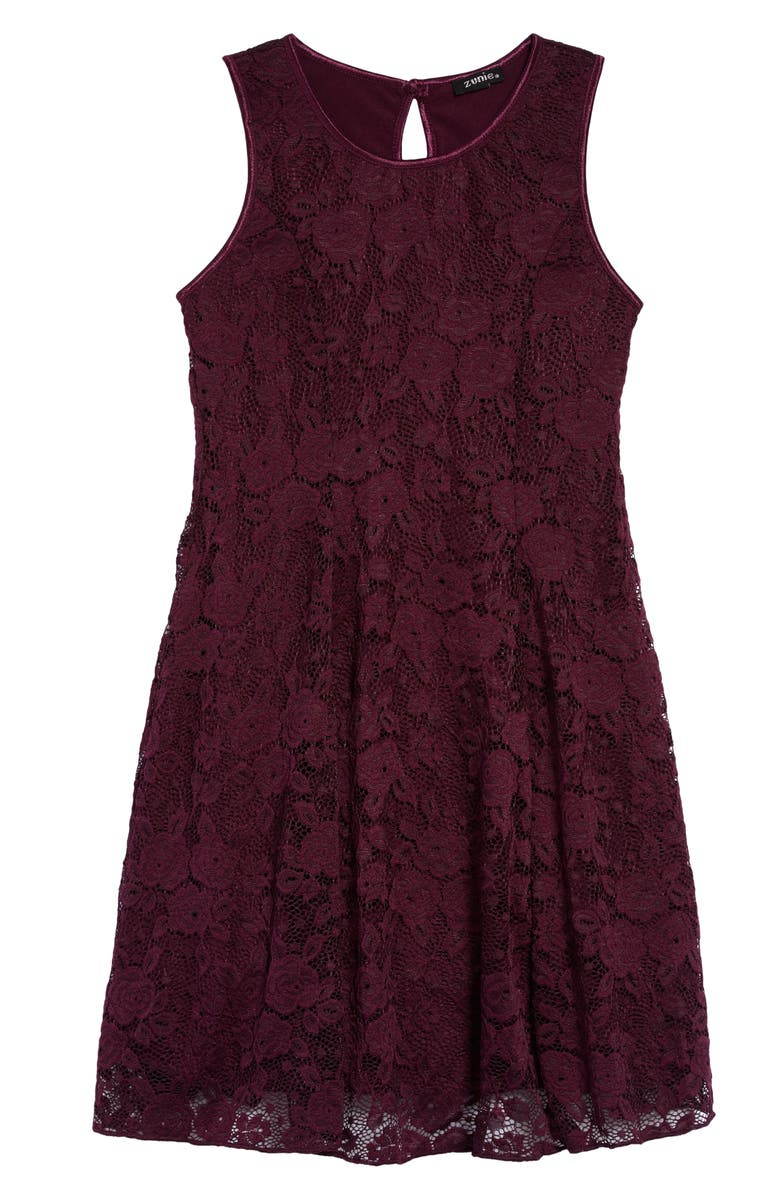 ZUNIE Lace Skater Dress, Main, color, EGGPLANT