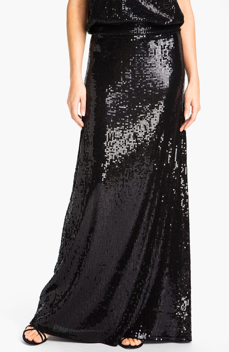 MICHAEL MICHAEL KORS Sequin Maxi Skirt, Main, color, 001