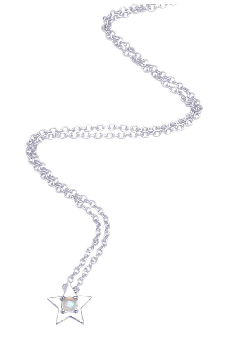 ADORNIA White Rhodium Plated Sterling Silver Moonstone Star Pendant Necklace, Main, color, WHITE