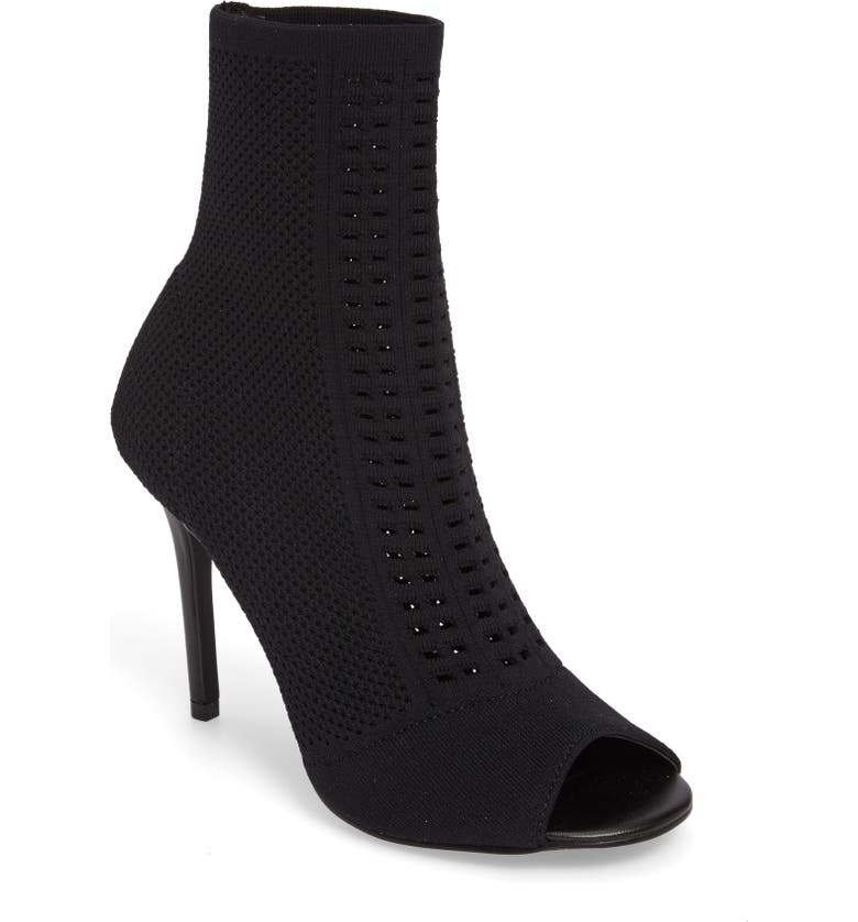 CHARLES BY CHARLES DAVID Rebellious Knit Peep Toe Bootie, Main, color, BLACK STRETCH KNIT FABRIC
