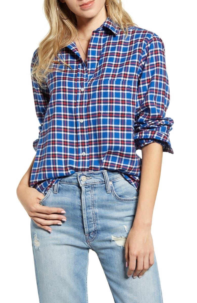 GRAYSON The Hero Plaid Feathered Cotton Flannel Shirt, Main, color, 463
