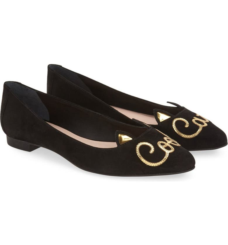 KATE SPADE NEW YORK 'elektra' cat eared flat, Main, color, 001
