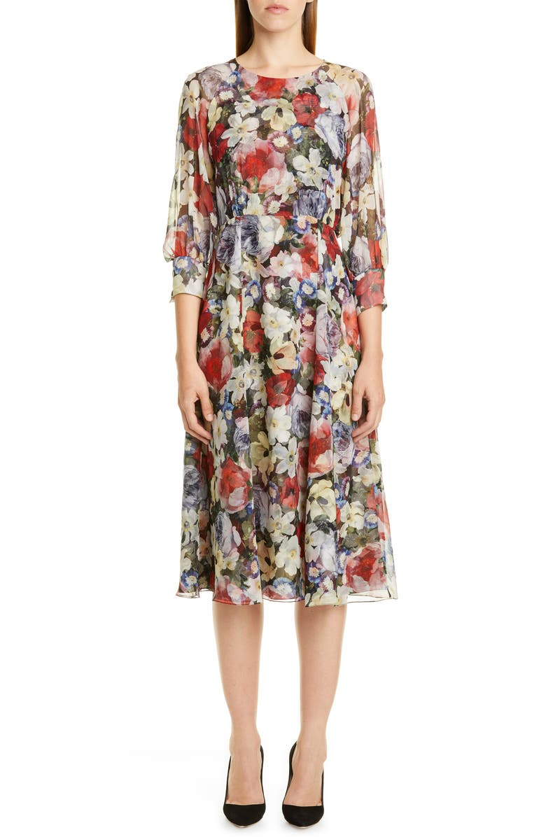 ERDEM Poppy Collage Floral Silk Midi Dress, Main, color, 001