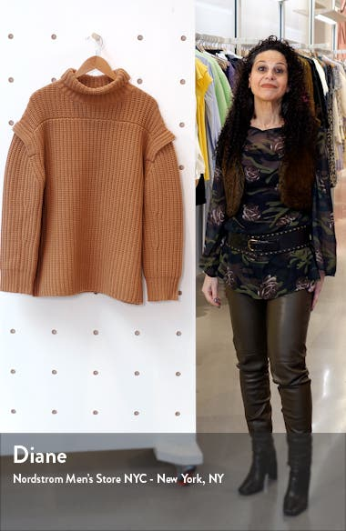 Layered Sleeve Wool & Cashmere Turtleneck Sweater, sales video thumbnail