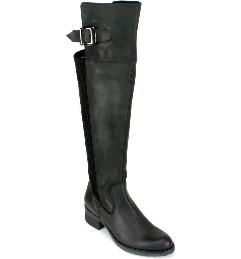 SUMMIT 'Lizzie' Over the Knee Boot, Main, color, BLACK NUBUCK LEATHER