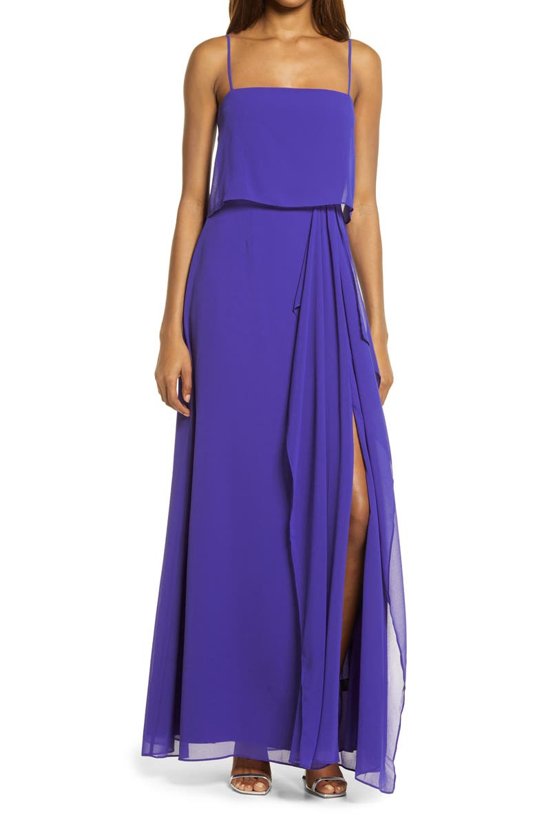 WAYF Rossanna Popover Gown, Main, color, ULTRA VIOLET