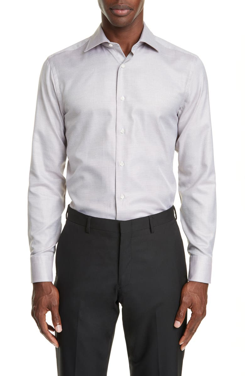CANALI Trim Fit Solid Dress Shirt, Main, color, 200