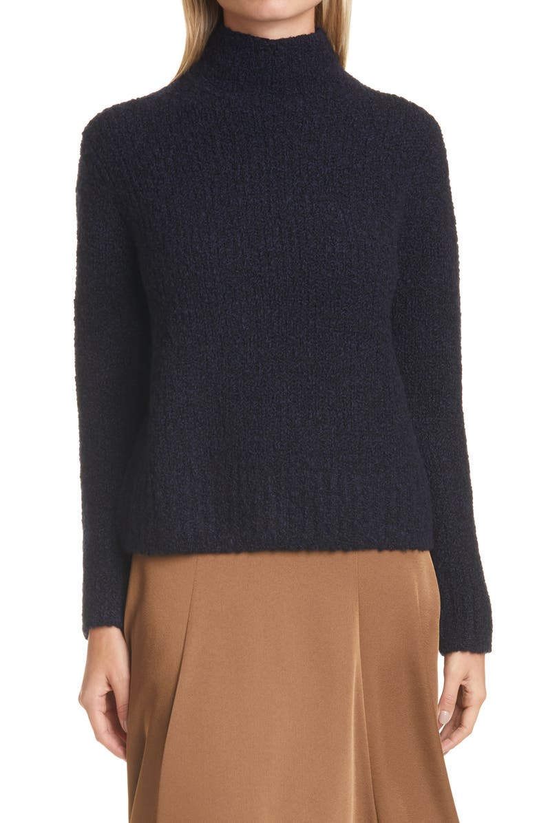 VINCE Textured Wool Blend Funnel Neck Sweater, Main, color, NAVY/ BLACK
