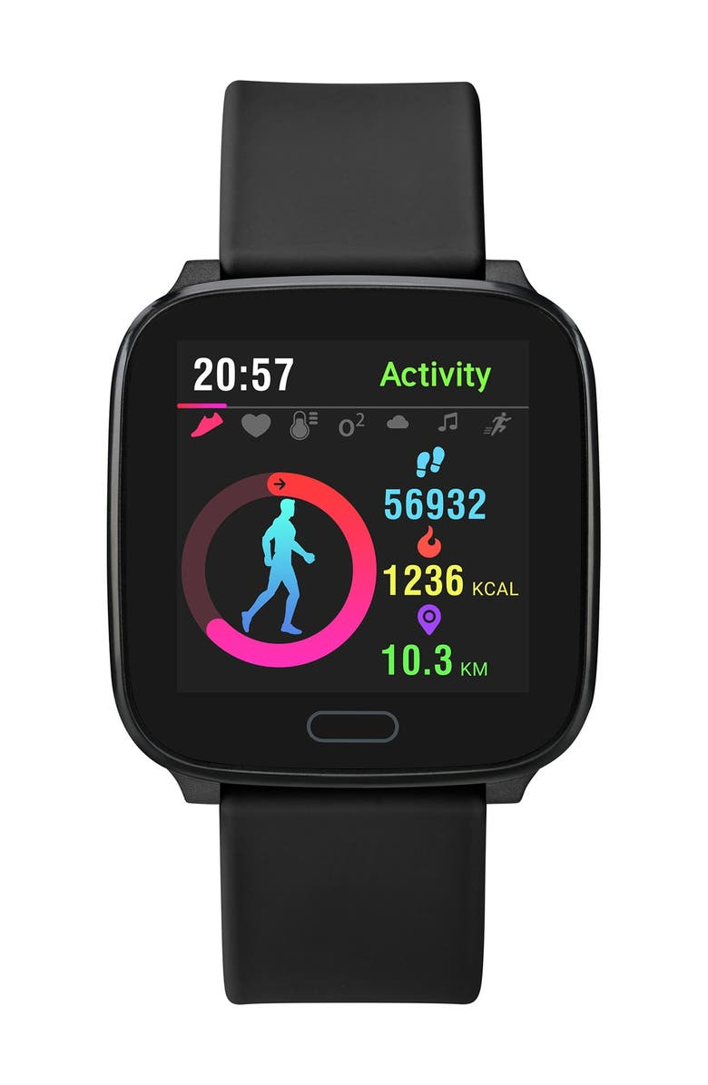 TIMEX Unisex Black iConnect Resin Strap Smartwatch, 37mm, Main, color, BLACK