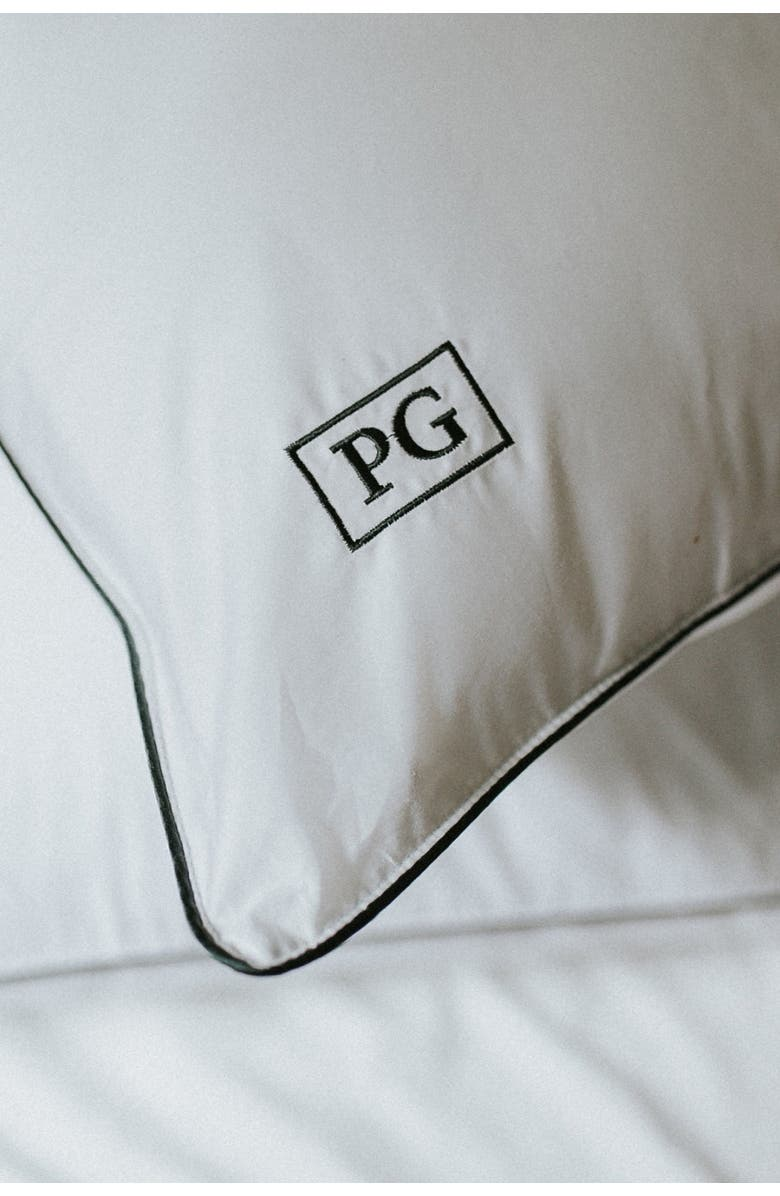 PILLOW GUY King  100% Cotton Sateen Pillow Protector - Set of 2 - White/Navy, Main, color, WHITE WITH NAVY CORD