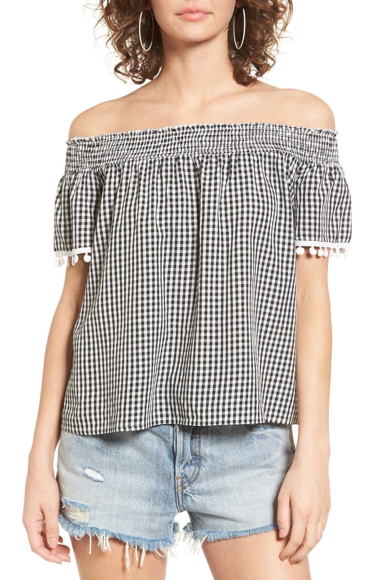 LOVE, FIRE Smocked Check Off the Shoulder Top, Main, color, 013