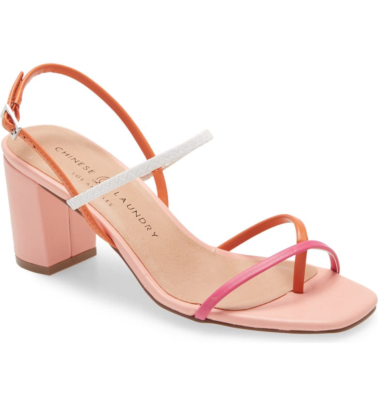 CHINESE LAUNDRY Yanna Strappy Sandal, Main, color, ORANGE/ HOT PINK FAUX LEATHER