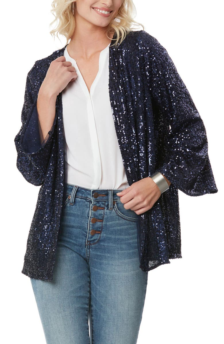 NYDJ Sequin Cardigan, Main, color, NAVY SEQUENCE