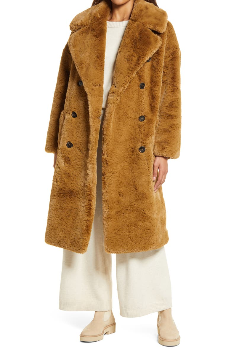 NORDSTROM Belted Recycled Polyester Faux Fur Coat, Main, color, BROWN BEAR