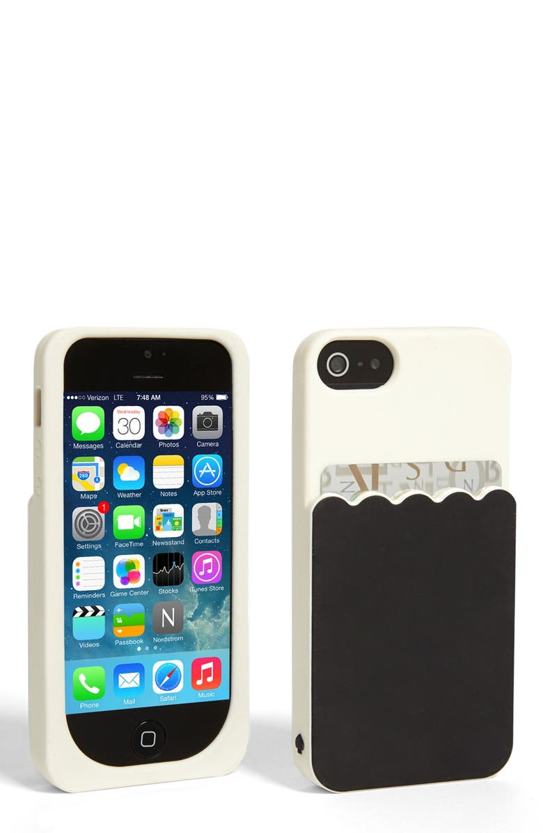 KATE SPADE NEW YORK 'scallop pocket' card holder iPhone 5 & 5s case, Main, color, 001