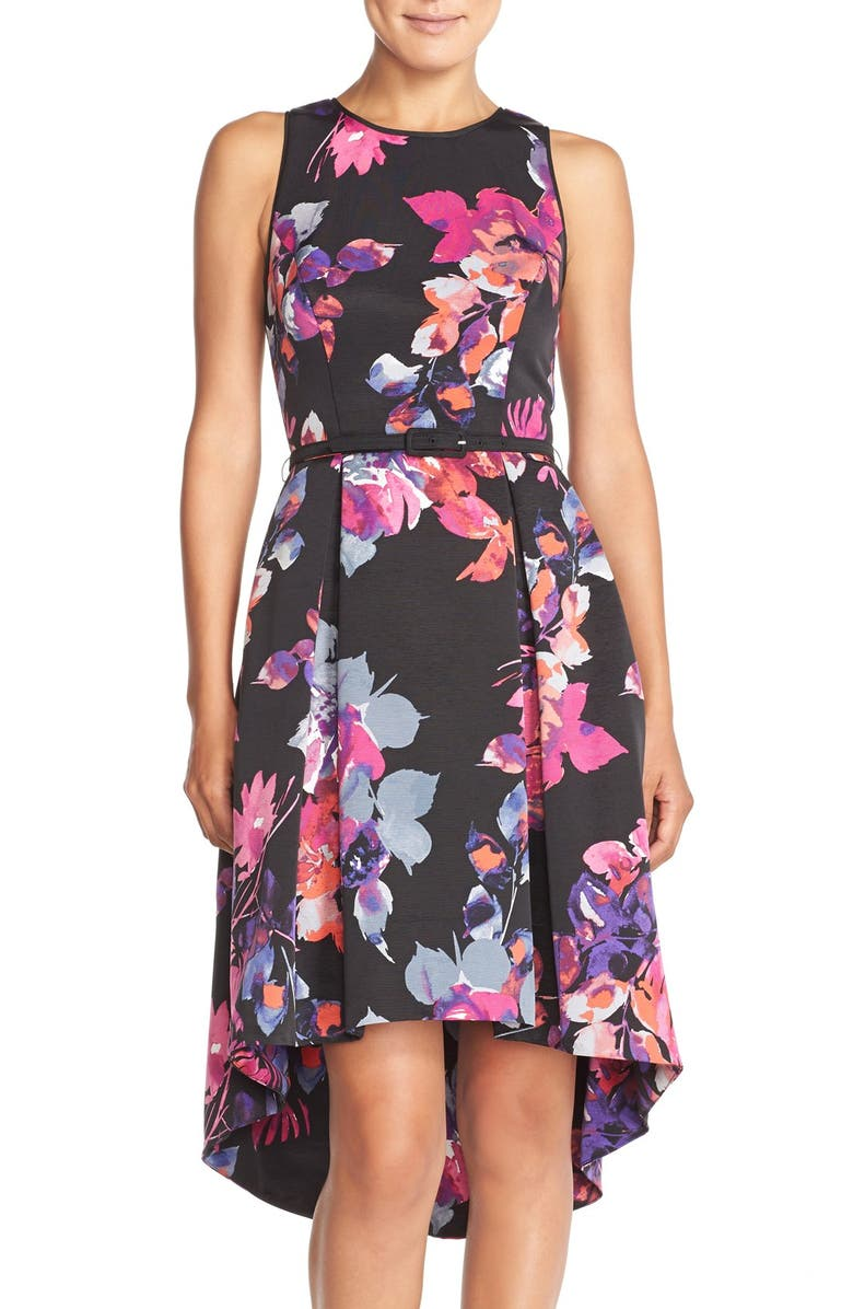 VINCE CAMUTO Belted Faille Fit & Flare Dress, Main, color, 008
