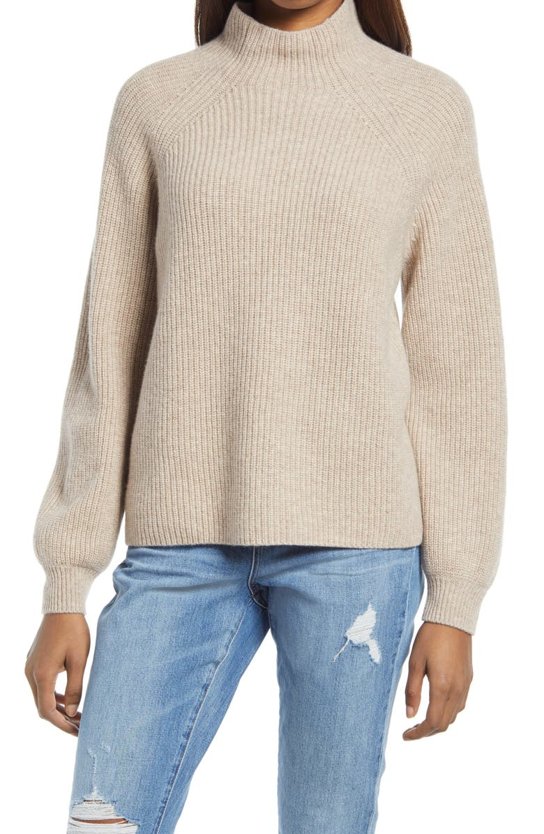 REFORMATION Georges Mock Neck Cashmere Sweater, Main, color, OATMEAL