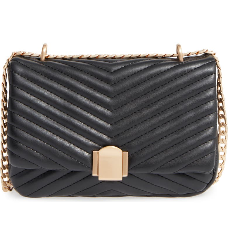 TOPSHOP Quilted Crossbody Bag, Main, color, 001