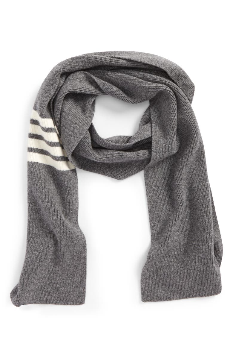 THOM BROWNE Rib Cashmere Scarf, Main, color, 035