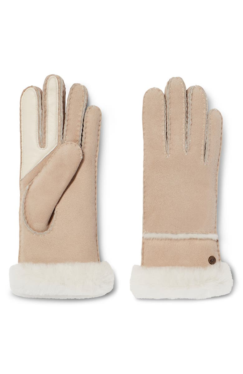 UGG<SUP>®</SUP> Seamed Touchscreen Compatible Genuine Shearling Lined Gloves, Main, color, SAND