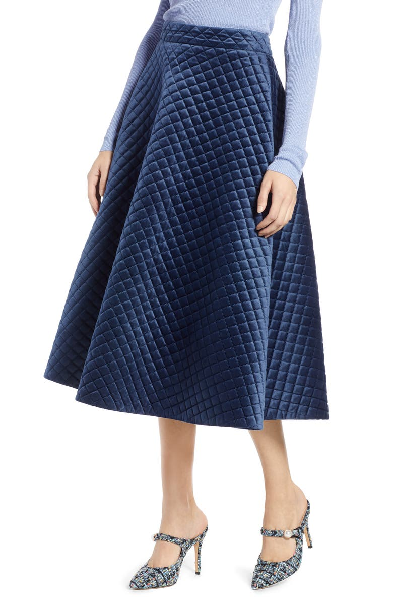 HALOGEN<SUP>®</SUP> x Atlantic-Pacific Quilted Velour Circle Midi Skirt, Main, color, NAVY BLAZER