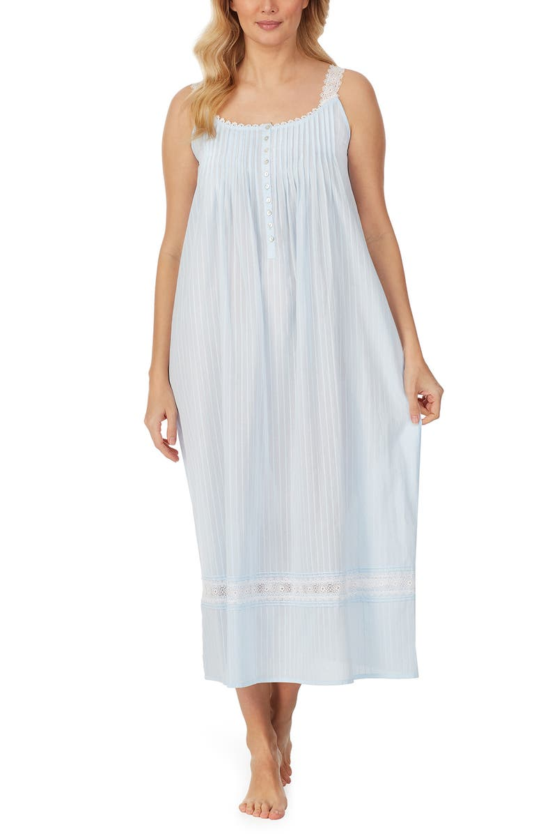 EILEEN WEST Sleeveless Cotton Nightgown, Main, color, BLUE