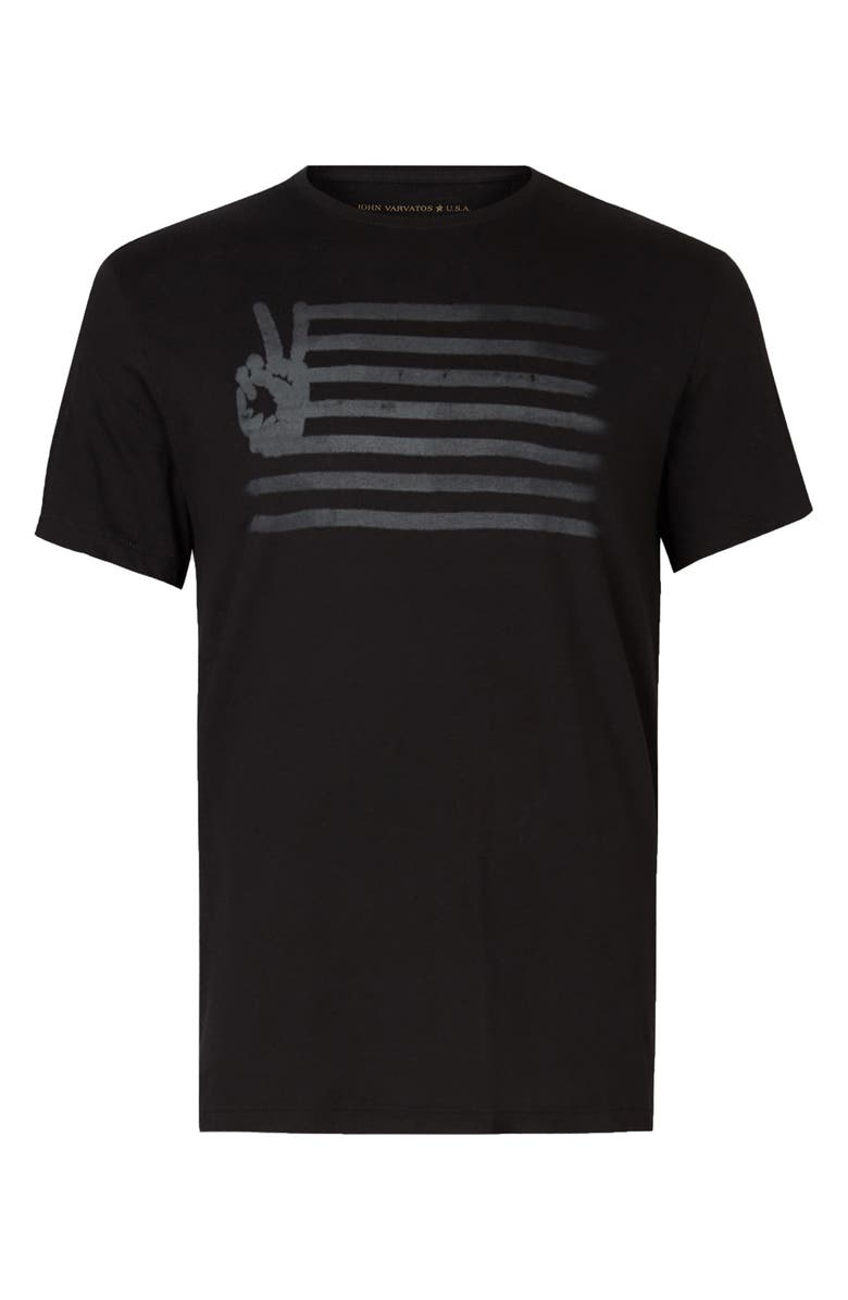 JOHN VARVATOS Men's Peace Flag Graphic Tee, Main, color, BLACK