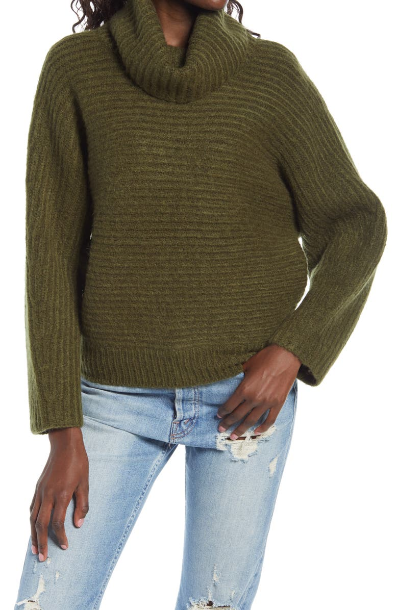 LEITH Dolman Turtleneck Sweater, Main, color, OLIVE NIGHT