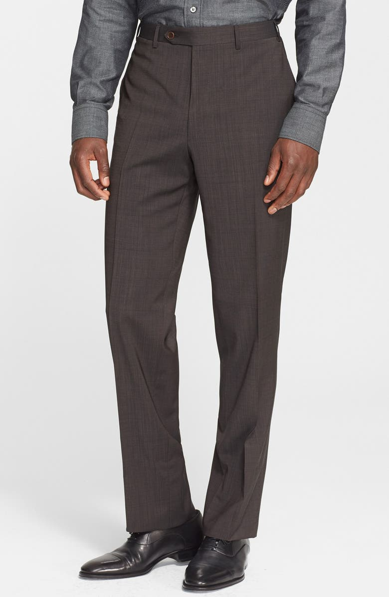 CANALI Flat Front Classic Fit Wool Dress Pants, Main, color, 200