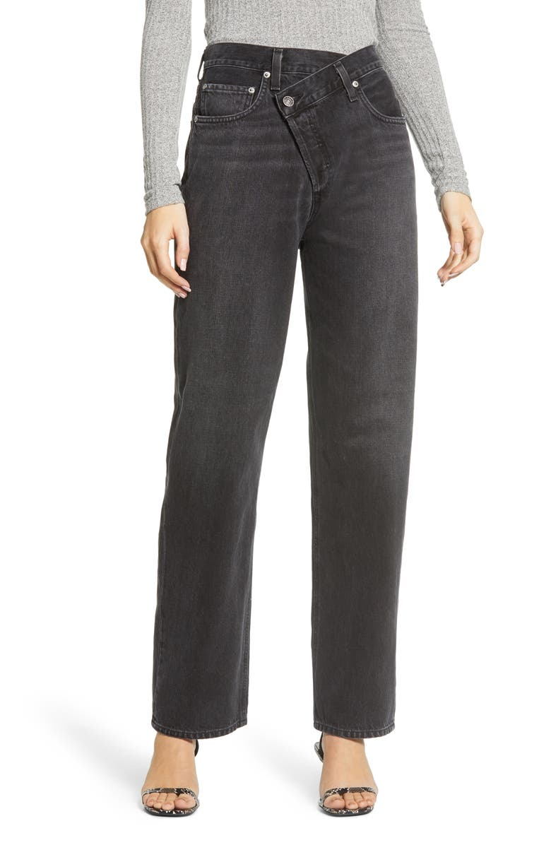 AGOLDE Criss Cross Upsize High Waist Nonstretch Jeans, Main, color, SAVAGE