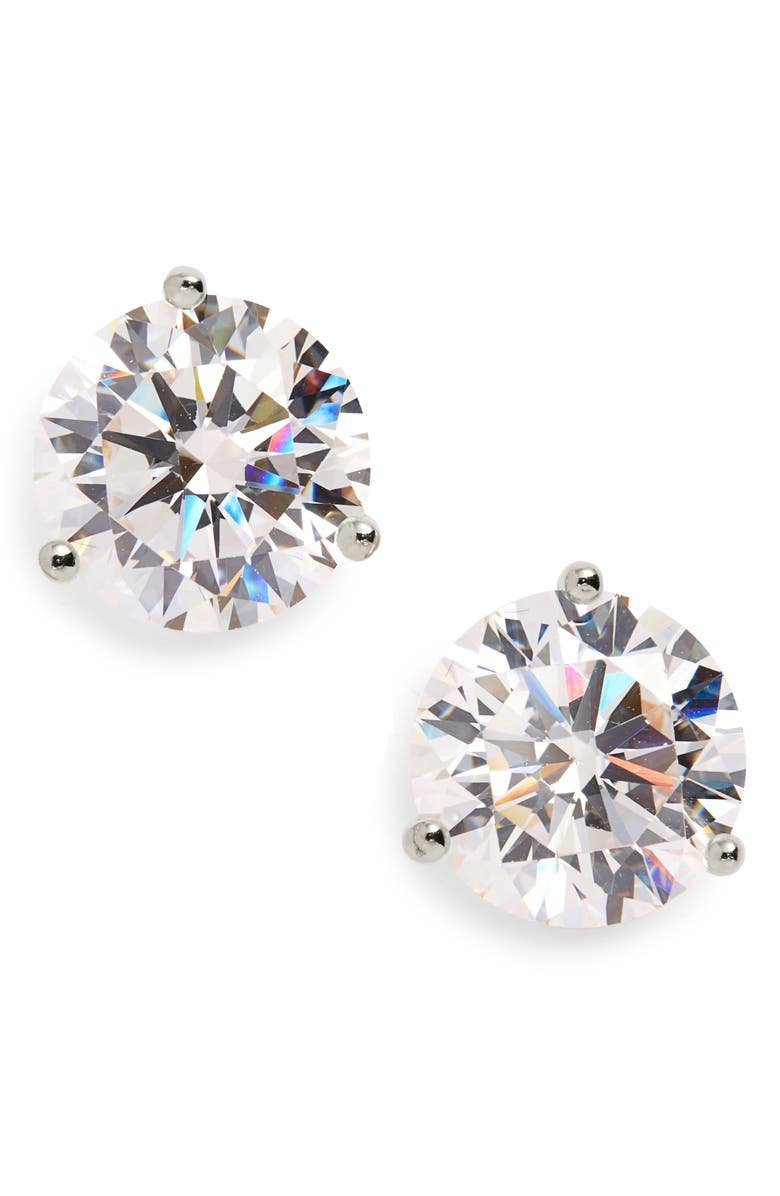 NORDSTROM Precious Metal Plated Cubic Zirconia Earrings, Main, color, PLATINUM