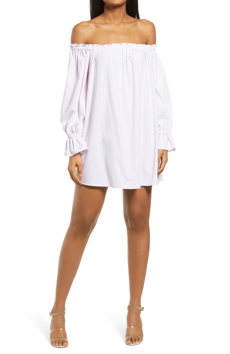 WAYF Freeman Off the Shoulder Tunic Dress, Main, color, PINK PINSTRIPE