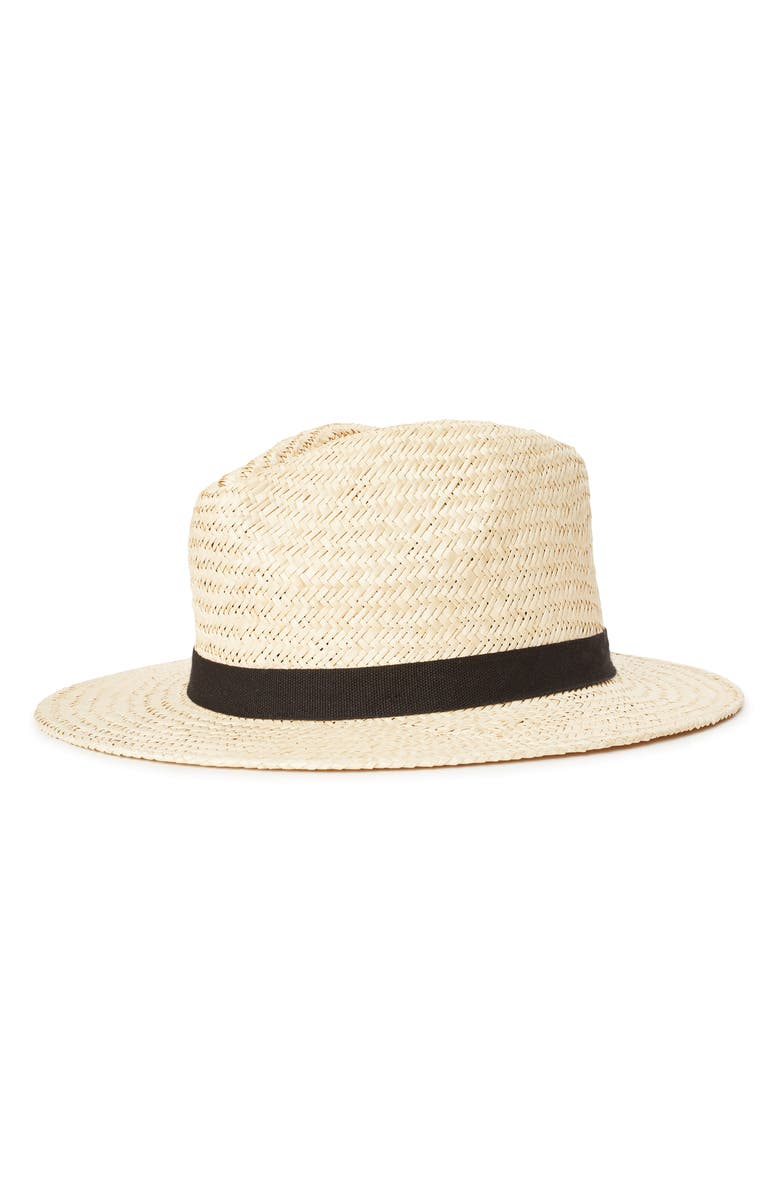 BRIXTON Lera III Straw Fedora, Main, color, TAN/ BLACK