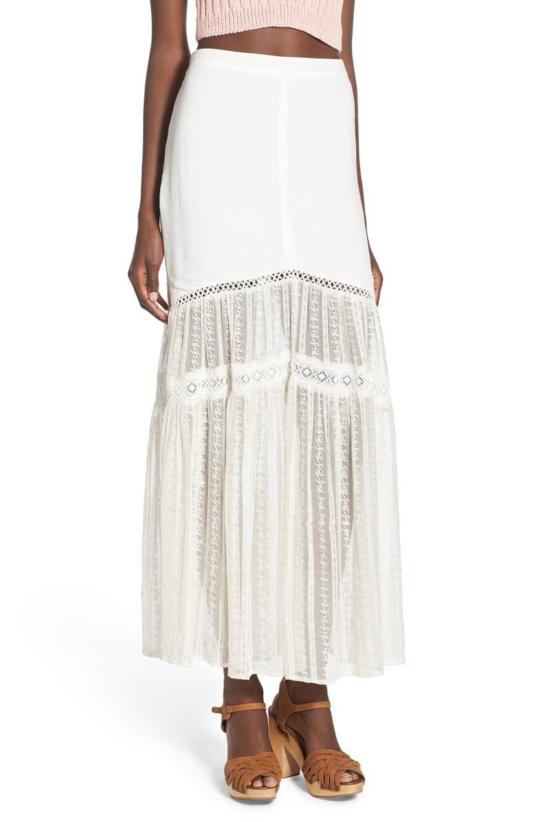 SOMEDAYS LOVIN 'Caves' Embroidered Lace Maxi Skirt, Main, color, OFF WHITE