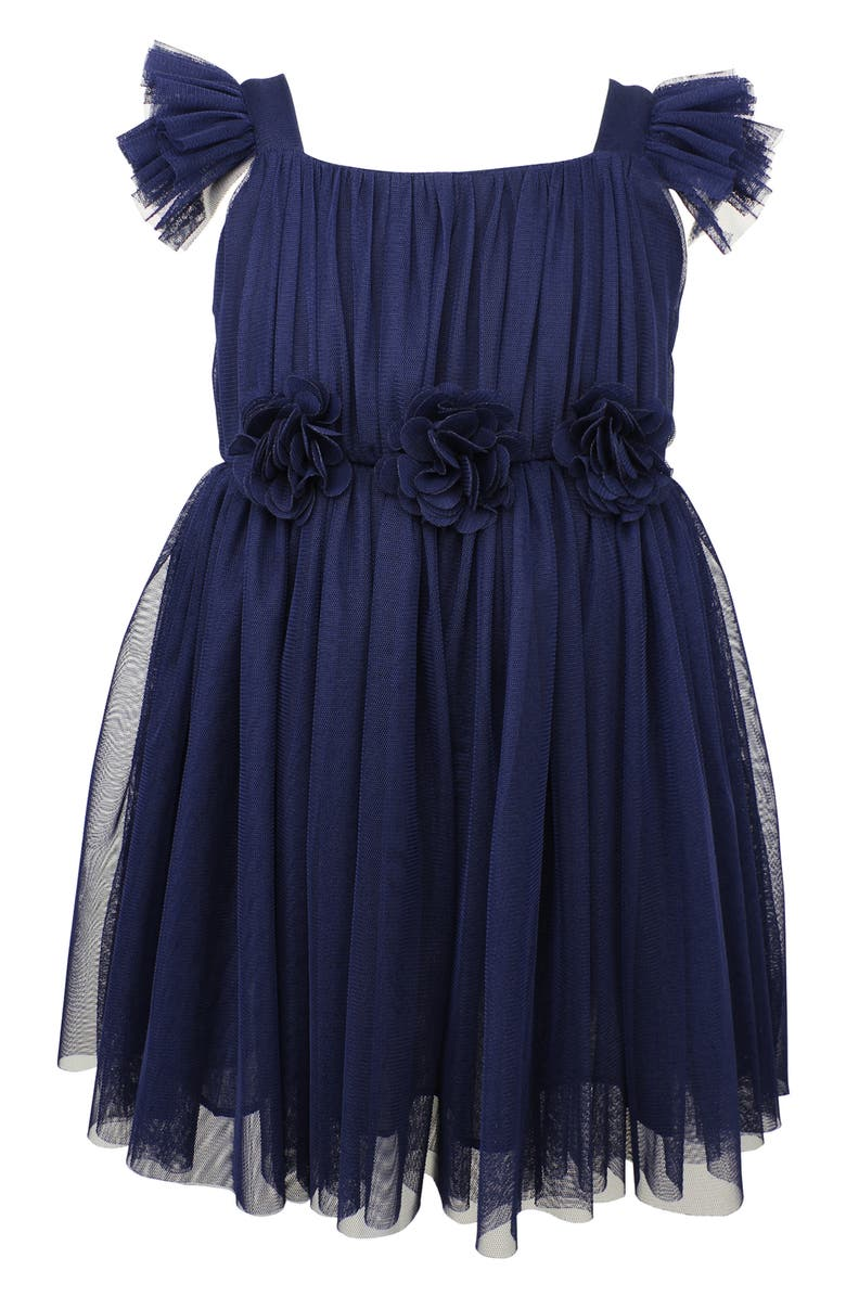 POPATU Flutter Sleeve Tulle Dress, Main, color, NAVY