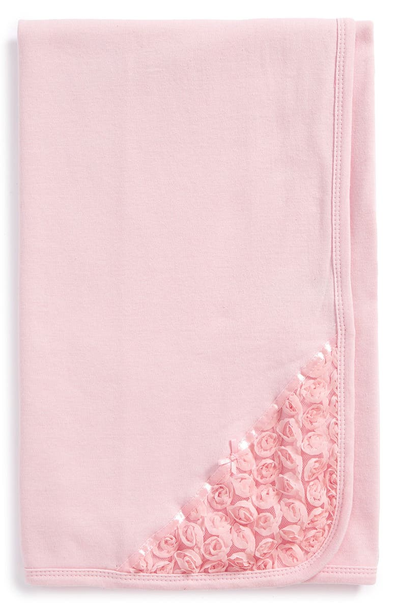 LITTLE ME Rosette Lace Receiving Blanket, Main, color, 688