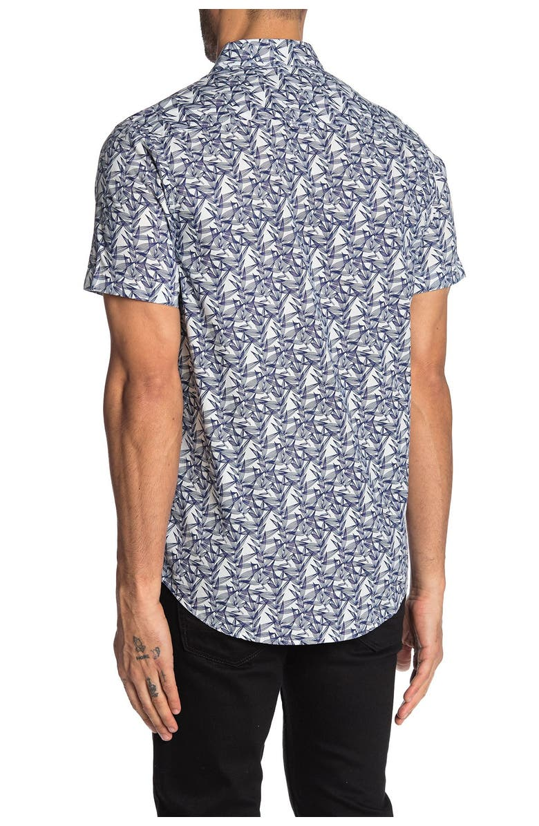 REPORT COLLECTION Short Sleeve Leaves Print Slim Fit Shirt, Main, color, 41 NAVY