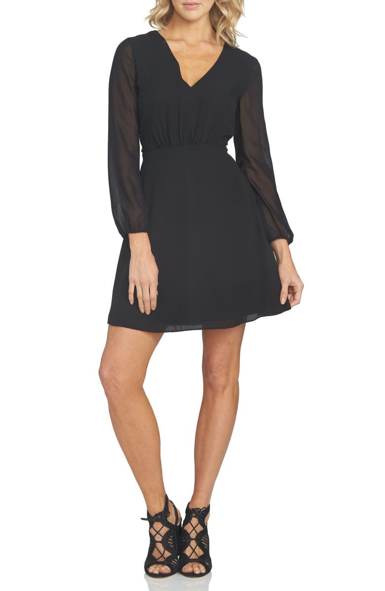 1.STATE Chiffon Fit & Flare Dress, Main, color, RICH BLACK