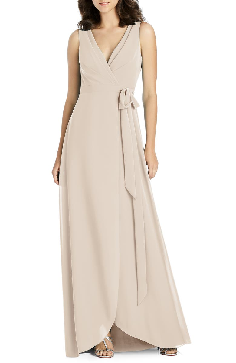 JENNY PACKHAM Chiffon Wrap Gown, Main, color, CAMEO