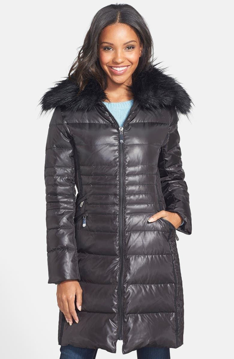 VINCE CAMUTO Faux Fur Collar Quilted Walking Coat, Main, color, 001