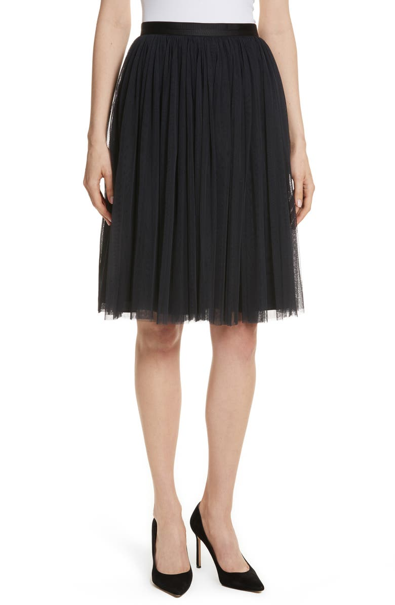 NEEDLE & THREAD Pleated Tulle Skirt, Main, color, WASHED BLACK
