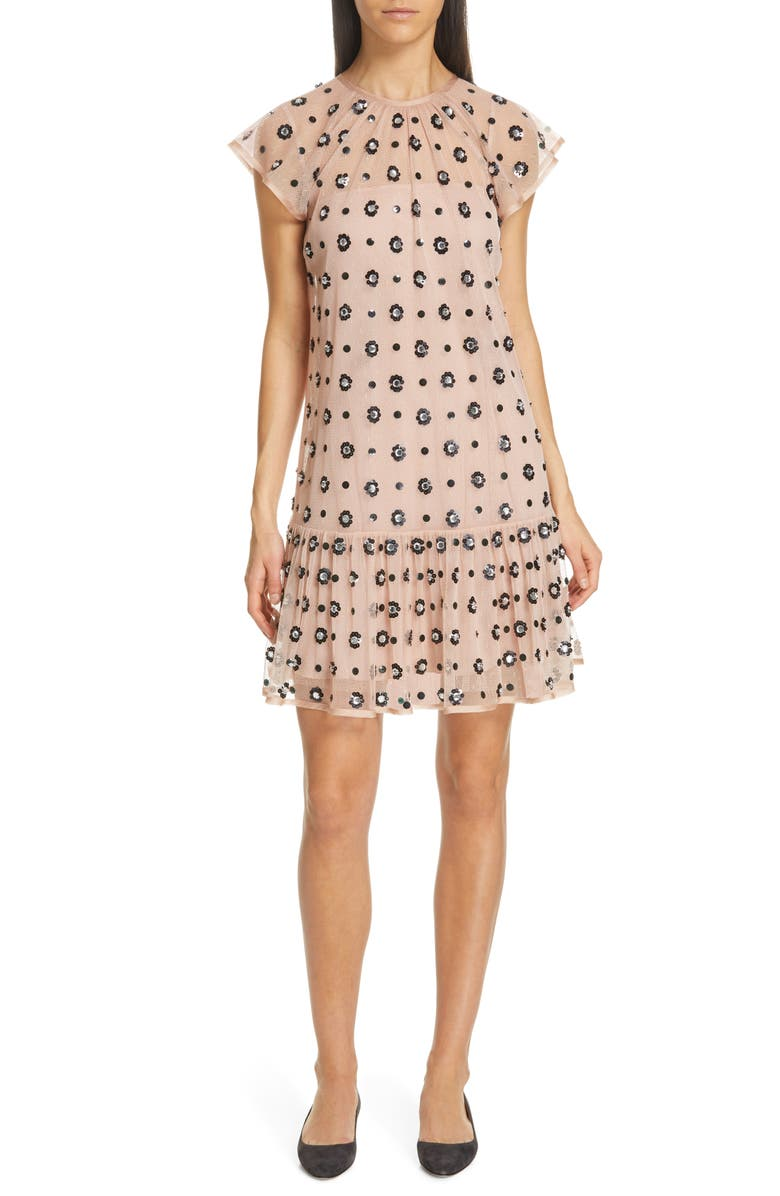 RED VALENTINO Floral Sequin Drop Waist Dress, Main, color, 056
