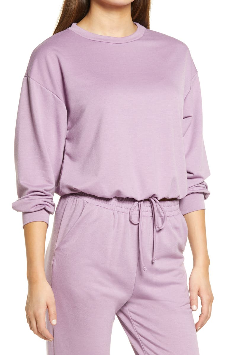 ALL IN FAVOR French Terry Drawstring Pullover, Main, color, LAVENDER