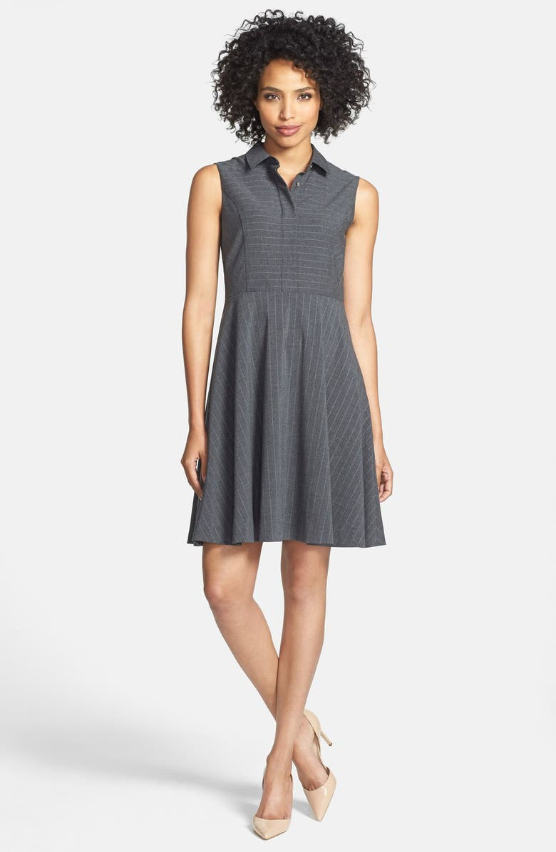 VINCE CAMUTO Pinstripe Point Collar Fit & Flare Dress, Main, color, MEDIUM HEATHER GREY