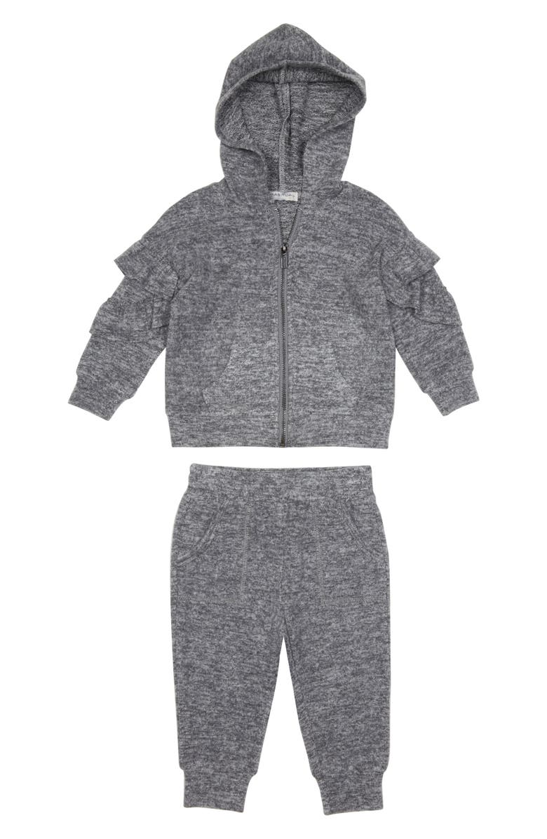HABITUAL GIRL Habitual Jocelyn Ruffle Hoodie & Sweatpants Set, Main, color, 014