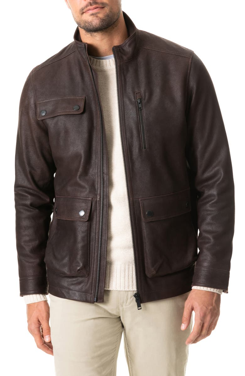 RODD & GUNN Silverdale Leather Jacket, Main, color, COCOA